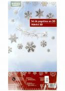"M19-570007, Christmas set of labels 3D ""Snowflakes"", universal, silver-white"